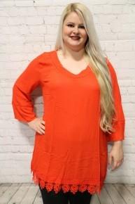 Walk This Way Red Crochet Detailed Tunic In Burnt Orange- Sizes 12-20