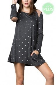 Your Love Polkadot Dress In Grey With Suede Details- Sizes 12-20
