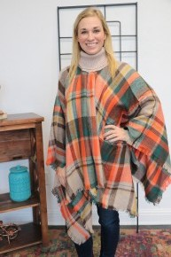 Stay Confident Plaid Multicolored Poncho One Size