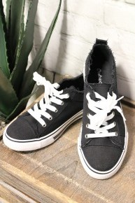 Cool, Calm & Collected Canvas Sneakers in Black