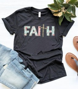 Faith Floral & Stripe Mix Graphic Tee In Black - Sizes 4-12