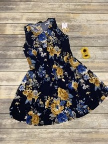 Jump For Joy Floral Tank Dress In Navy - Sizes 12-20