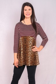 Back Up Leopard & Stripes Top With Babydoll Style Hem In Burgundy  - Sizes 4-20