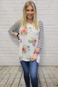 Stripes and Floral Raglan in Multiple Colors - Sizes 4-10
