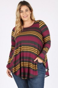 We Will Lose It Striped Print Long Sleeve Top In Plum - Sizes 12-20
