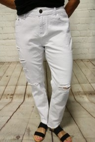 The Jordan Distressed Cropped White Jeans - Sizes 4-20