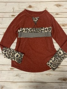 Within Reason Leopard & Stripe Color Block Top In Burgundy - Sizes 4-20