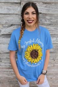 Be Joyful Always Graphic Tee in Heathered Blue ~ Sizes 6-18