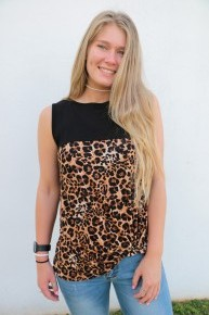 Let The Good Times Roll Leopard Colorblock Top in Black - Sizes 4-10