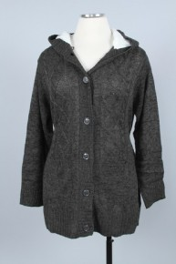 Not Even Close Sherpa Lined Cable Knit Cardigan In Charcoal - Sizes 12-20