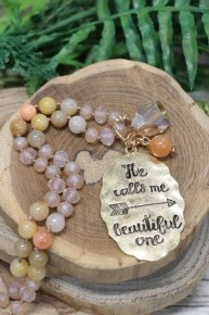 Calls Me Beautiful One Beaded Necklace In Peach