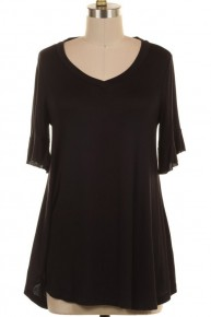 I Don't Know What I'm After Solid Basic Top In Black - Sizes 4-10