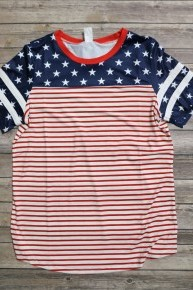 Red White and Blue All American Baseball Tee - Sizes 4-20