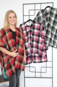 Find Your Way Plaid Poncho in Multiple Colors-One Size