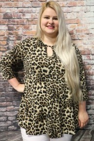 When You Believe Leopard Top with Keyhole - Sizes 12-20