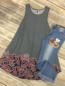 Send Your Love Border Print Top In Navy- Sizes