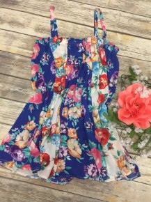 Rumors Of Love Floral And Striped Tank Top In Blue - Sizes 12-20