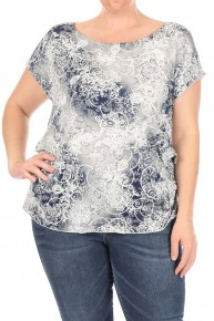 Stretchy Tie-Dye Top in Blue - Sizes 12-20