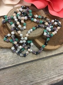Point Of Perfection Beaded Necklace In Ocean Pearl