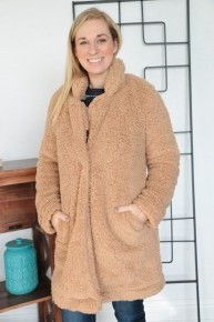 I Could Stay Faux Fur Jacket in Camel with Single Snap Closure Sizes 4-20