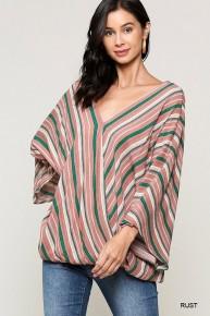 This Time Around Striped Kimono Wrap Top- Sizes 4-10