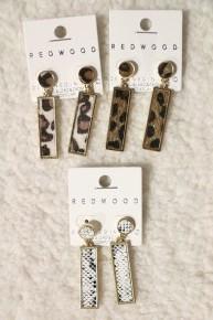 Feeling Fine Animal Print Rectangle Dangle Earrings In Multiple Prints