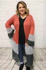 We Are Going On A Date Leopard Contrast Cardigan With Ruffle Hem - Multiple Colors - Sizes 4-20