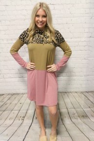 So Adorable Leopard Colorblock Dress with Hood