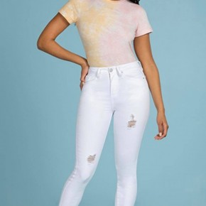 YMI White Distressed Skinnies