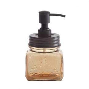 Amber Glass & Metal Soap Pump