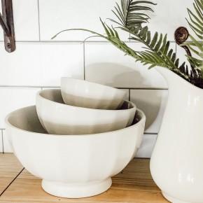 Stoneware Vintage Reproduction Bowls S/3