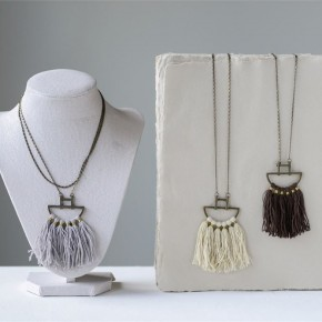 Metal & Boho Cotton Fringe Necklace
