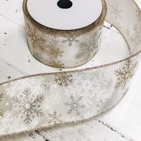 Ivory & Metallic Snowflake Ribbon