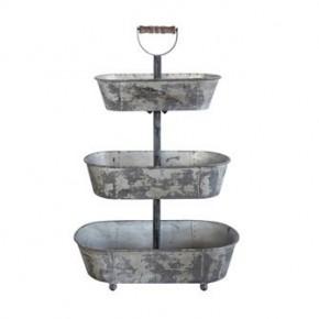 Galvanized Metal 3 Tier Tray