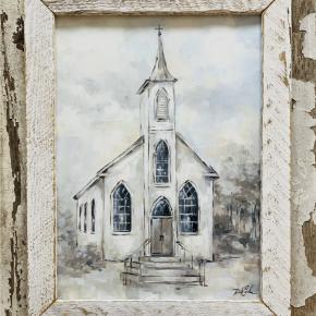 White Wash Frame Church Painting