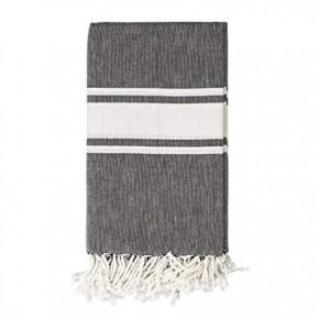 Cotton Woven Throw w/ White Stripes & Fringe