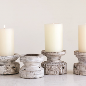 Found Wood Candle Holder