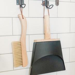 Beech Wood Brush & Metal Dust Pan w/ Leather Straps