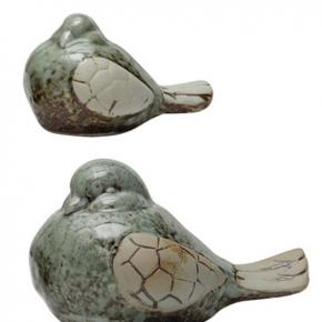 Aqua Stoneware Bird Set 2