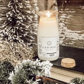 Tree Farm Milk Bottle Candle
