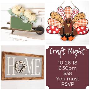 Craft Night Deposit 10/26/18