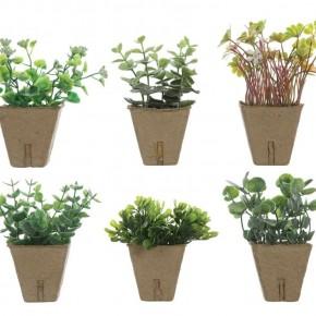 Faux Plant in Paper Pot Set of 3
