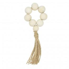 Set Of 6 Tasseled Wood Bead Napkin Rings