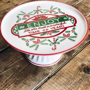 Enjoy Christmas Stoneware Cake Pedestal