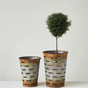 Small Vintage Style Olive Buckets