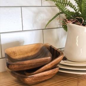 Square Acacia Wood Bowls
