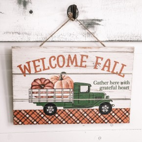 Welcome Fall Truck Sign