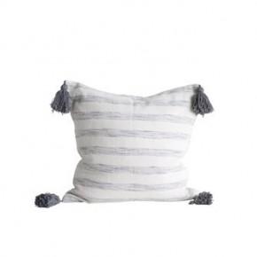 Woven Grey Stripe Pillow w/ Tassels