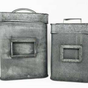 Corrugated Metal Storage Bins with Lids