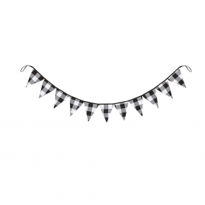 Black and White Check Pennant Garland